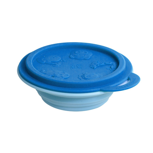 Collapsible Travel Bowl Blue Lid